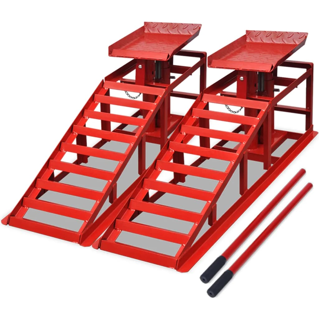 Nájezdové rampy pro opravu automobilu 2 ks ocelové červené