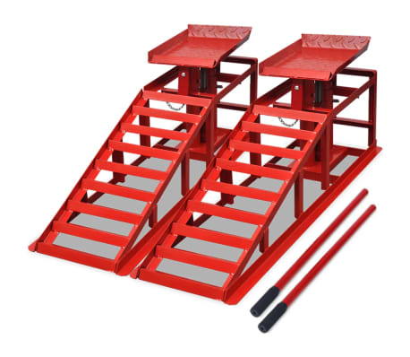 vidaXL Car Repair Ramps 2 pcs Red Steel[1/5]
