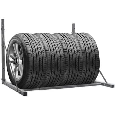 vidaXL Foldable Tyre Rack Silver Galvanised Steel[1/5]
