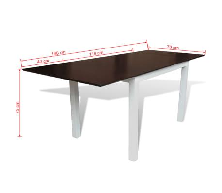 vidaxl ausziehbarer esstisch gummibaum holz braun und wei 190 cm g nstig kaufen. Black Bedroom Furniture Sets. Home Design Ideas