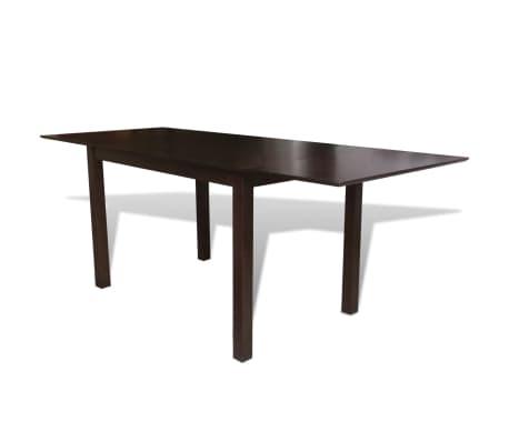 vidaXL Išskleidžiamas valgomojo stalas, kaučiukmedis, rudas, 190 cm[1/4]