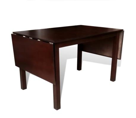 vidaXL Išskleidžiamas valgomojo stalas, kaučiukmedis, rudas, 190 cm[3/4]