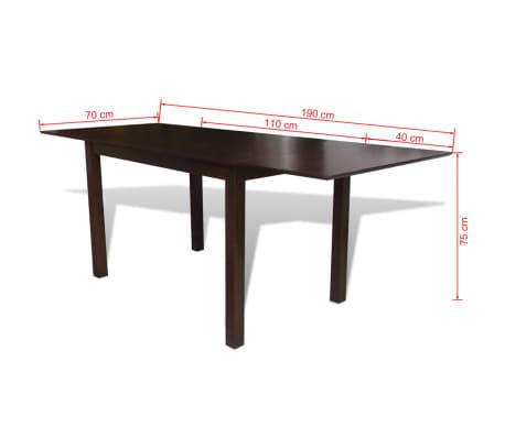 vidaXL Išskleidžiamas valgomojo stalas, kaučiukmedis, rudas, 190 cm[4/4]