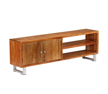vidaXL TV-bänk massivt trä med snidade dörrar 140x30x40 cm