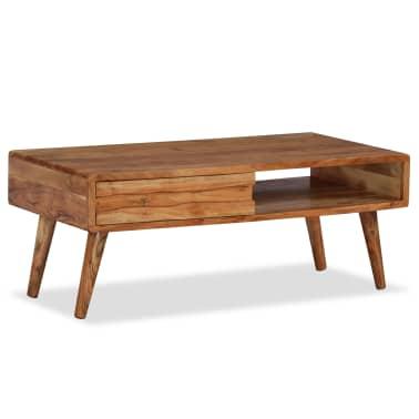 vidaXL Kavos staliukas, mediena, su išdrožinėtu stalč., 100x50x40 cm[1/13]
