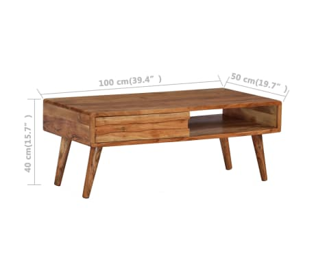 vidaXL Kavos staliukas, mediena, su išdrožinėtu stalč., 100x50x40 cm[8/13]