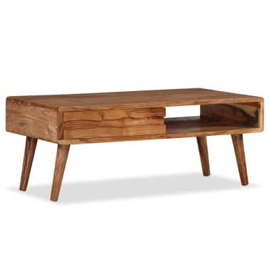 vidaXL Kavos staliukas, mediena, su išdrožinėtu stalč., 100x50x40 cm[11/13]