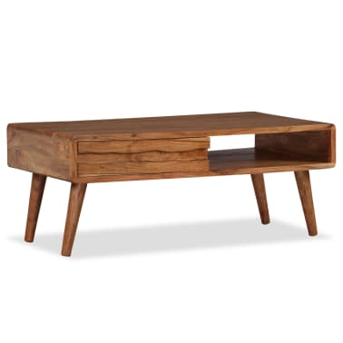 vidaXL Kavos staliukas, mediena, su išdrožinėtu stalč., 100x50x40 cm[12/13]