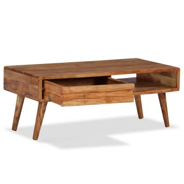 vidaXL Kavos staliukas, mediena, su išdrožinėtu stalč., 100x50x40 cm[3/13]