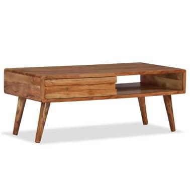 vidaXL Kavos staliukas, mediena, su išdrožinėtu stalč., 100x50x40 cm[9/13]