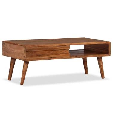 vidaXL Kavos staliukas, mediena, su išdrožinėtu stalč., 100x50x40 cm[10/13]