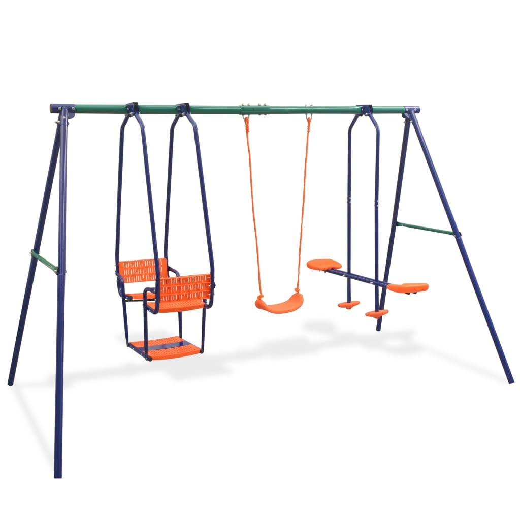 Kids Garden Swing Seesaw Set With 5 Seater Outdoor Children Safety