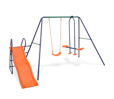 vidaXL Swing Set with Slide and 3 Seats Orange[1/11]