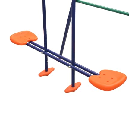 vidaXL Swing Set with Slide and 3 Seats Orange[6/11]