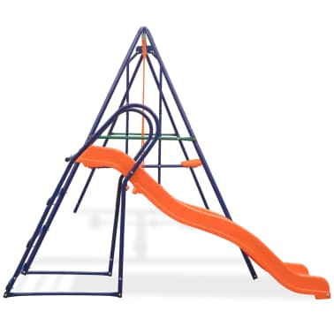 vidaXL Swing Set with Slide and 3 Seats Orange[2/11]