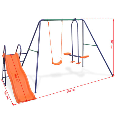 vidaXL Swing Set with Slide and 3 Seats Orange[10/11]