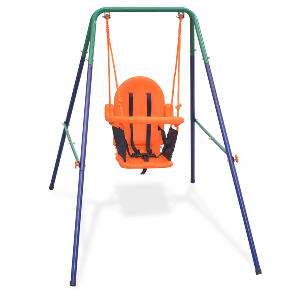 Väikelapse kiigekomplekt turvarihmaga, oranž