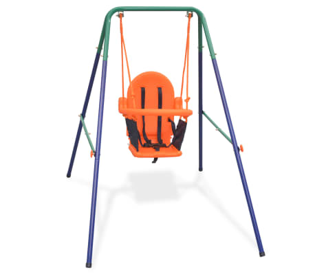 vidaXL Toddler Swing Set with Safety Harness Orange