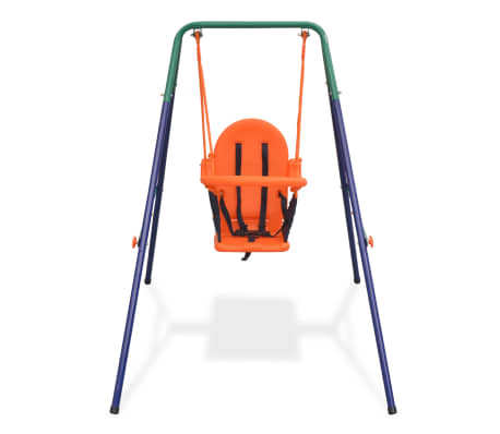 vidaXL Toddler Swing Set with Safety Harness Orange[2/7]