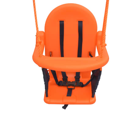 vidaXL Toddler Swing Set with Safety Harness Orange[4/7]