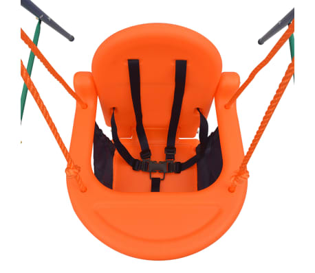 vidaXL Toddler Swing Set with Safety Harness Orange[5/7]