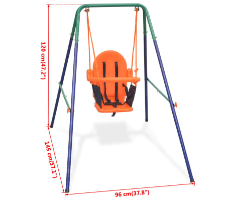 vidaXL Toddler Swing Set with Safety Harness Orange[7/7]