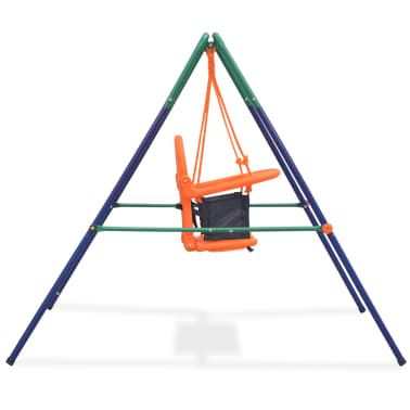 vidaXL Toddler Swing Set with Safety Harness Orange[3/7]