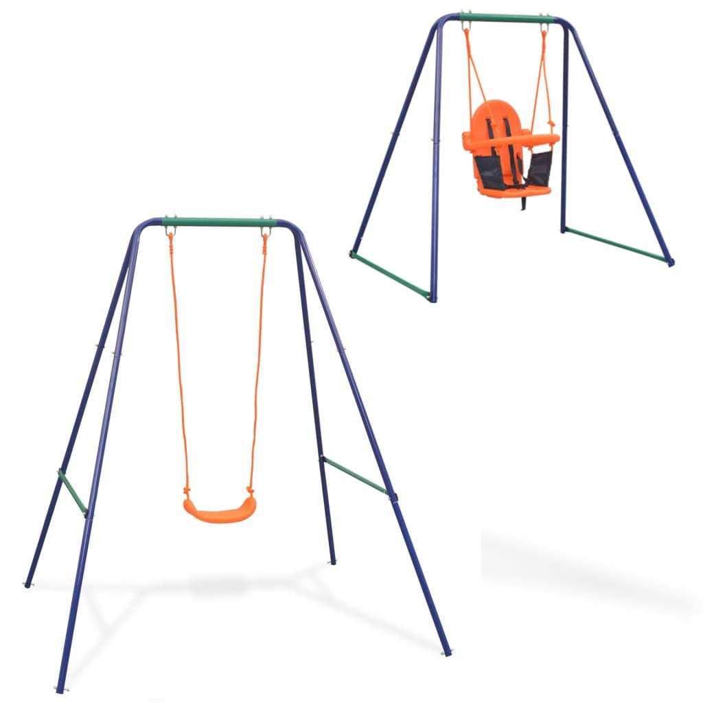 vidaXL Houpačka pro jedno dítě a houpačka pro batole 2 v 1 oranžová
