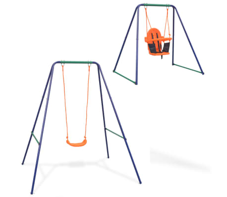 vidaXL 2-in-1 Single Swing and Toddler Swing Orange