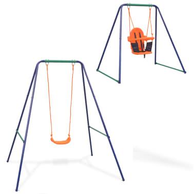 vidaXL 2-in-1 Single Swing and Toddler Swing Orange[1/16]