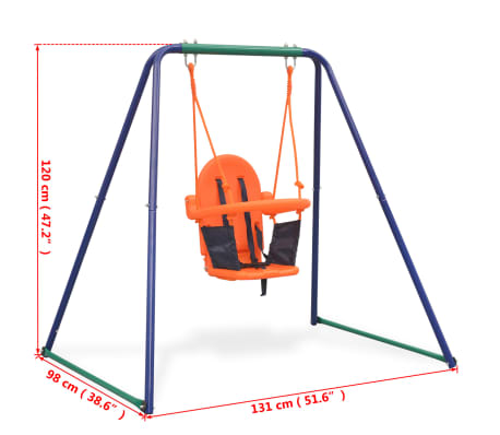 vidaXL 2-in-1 Single Swing and Toddler Swing Orange[16/16]