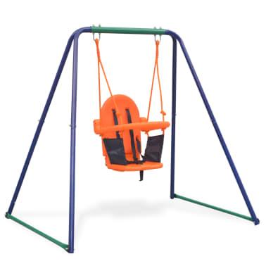 vidaXL 2-in-1 Single Swing and Toddler Swing Orange[5/16]
