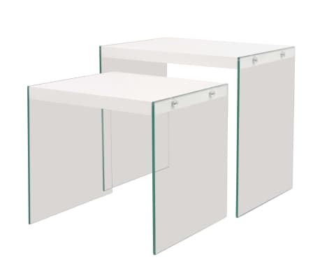 vidaxl beistelltisch set 2 stk glas mdf hochglanz wei g nstig kaufen. Black Bedroom Furniture Sets. Home Design Ideas
