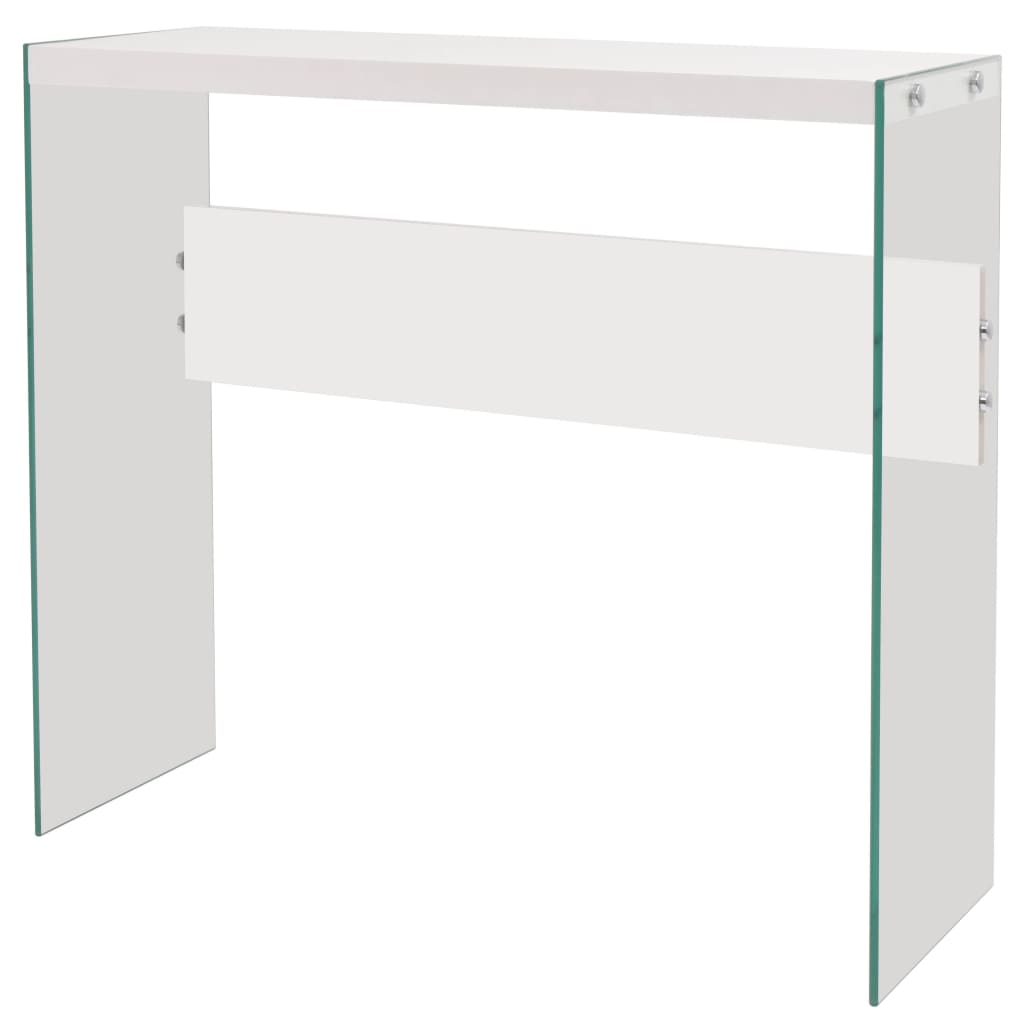 vidaXL Konzolový stolek, sklo a MDF, bílý s vysokým leskem