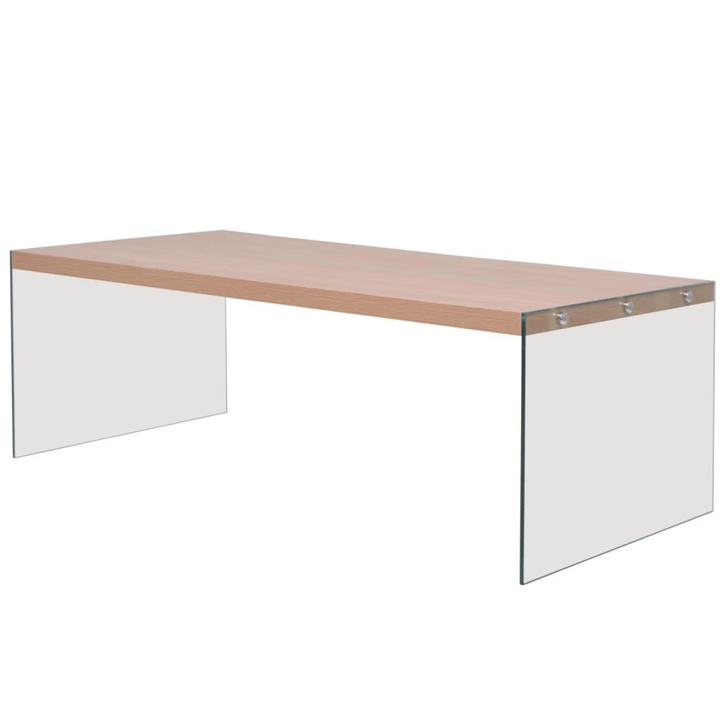 vidaXL Konferenční stolek sklo, MDF, v barvě dubového dřeva