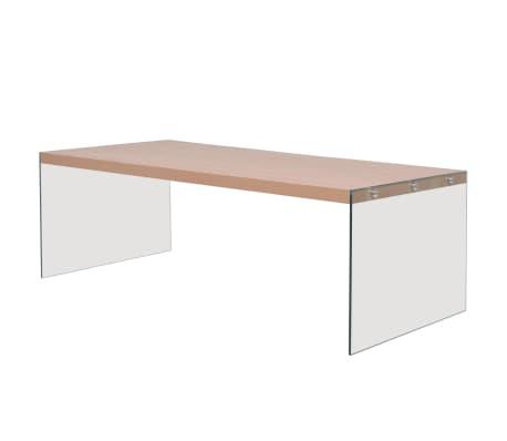vidaXL sofabord glas MDF egetræsfarve