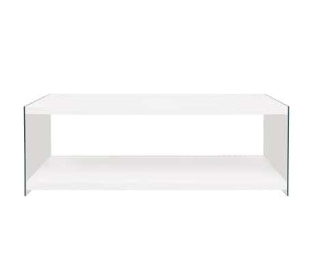 vidaXL Stolik kawowy z półką ze szkła, MDF, wysoki połysk, biały[2/4]