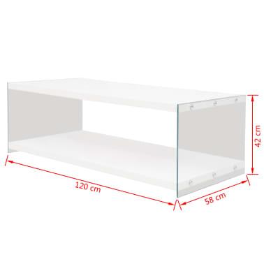 vidaXL Stolik kawowy z półką ze szkła, MDF, wysoki połysk, biały[4/4]