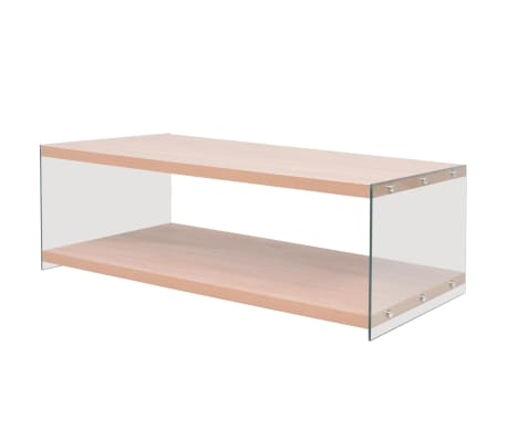 vidaXL Coffee Table with Shelf Glass MDF Oak Colour