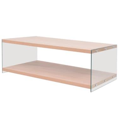 vidaXL Kavos staliukas su lentyna, stiklas, MDF, ąžuolo medienos sp.[1/4]