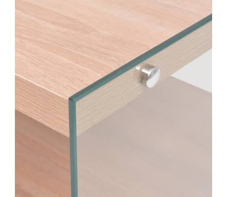 vidaXL Kavos staliukas su lentyna, stiklas, MDF, ąžuolo medienos sp.[3/4]