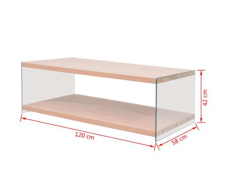 vidaXL Kavos staliukas su lentyna, stiklas, MDF, ąžuolo medienos sp.[4/4]