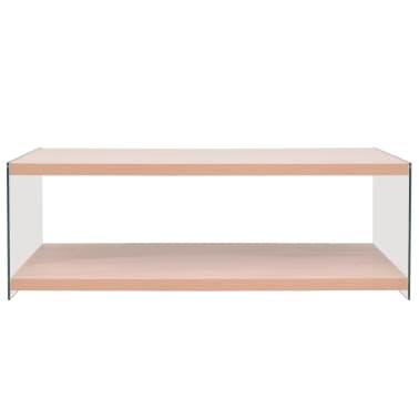 vidaXL Kavos staliukas su lentyna, stiklas, MDF, ąžuolo medienos sp.[2/4]
