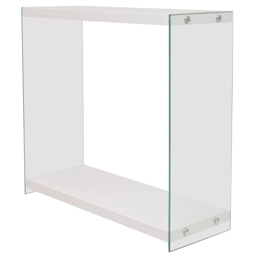 vidaXL Konzolový stolek, deska ze skla, MDF, vysoký lesk, bílý