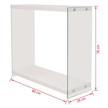 vidaxl konsolentisch mit regal glas mdf hochglanz wei. Black Bedroom Furniture Sets. Home Design Ideas