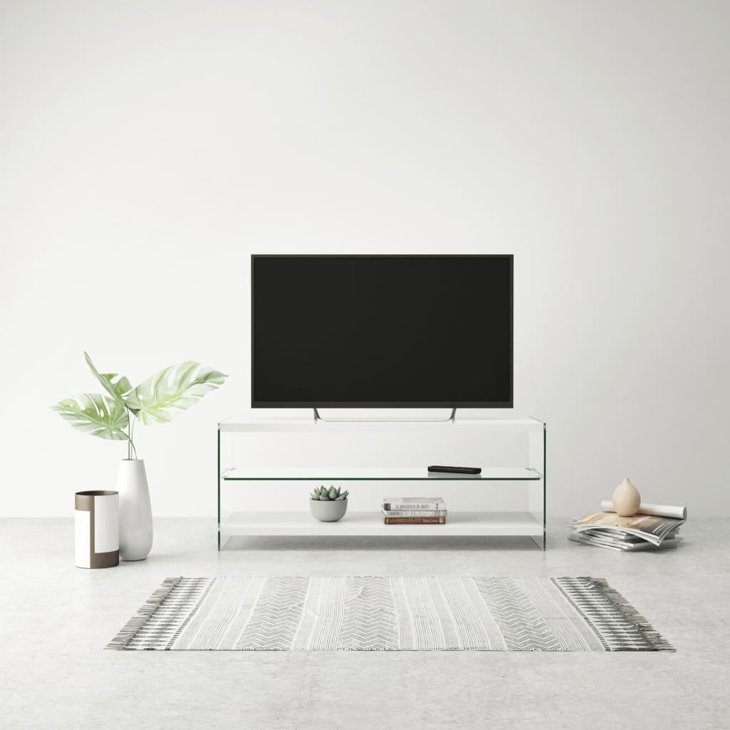 vidaXL Televizní stolek, sklo a MDF, bílý s vysokým leskem