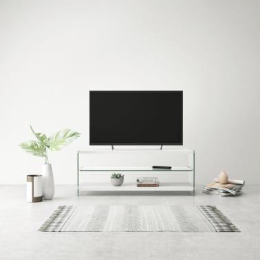 vidaXL Meuble TV MDF Verre très brillant Blanc[1/5]