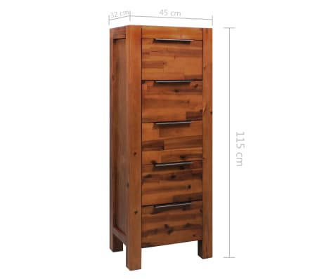 "vidaXL Chest of Drawers Solid Acacia Wood 17.7""x12.5""x45.2""[9/9]"