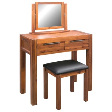 vidaXL Dressing Table with Stool and Mirror Solid Acacia Wood[1/8]