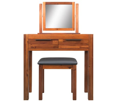 vidaXL Dressing Table with Stool and Mirror Solid Acacia Wood[2/8]